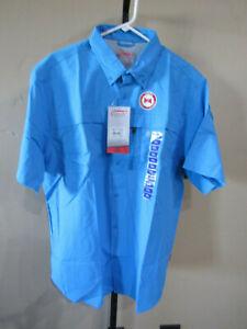 Coleman Short Slv Adventure Stretch Shirt Malibu Blue  Men/'s Sz M-L NWT MSRP$60