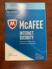 McAfee Internet Security 1 Year 10 Devices Keycard MIS17ETG0RAA 2017