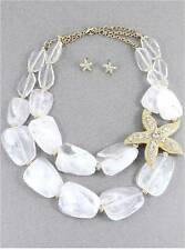 TWO LAYERS WHITE LUCITE BEAD GOLD TONE SIDE STARFISH NECKLACE EARRING