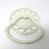 Vtg 60's Homco Kitchen Bathroom Towel Ring Holder Wicker Daisy Design Off White