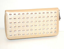 Portefeuille beige femme faux cuir portemonnaie clutch bag zip scarff G26