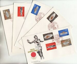 Tokyo Olympic Games Venues Set of 5 NCC FDCs Japan 1964