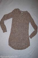 Womens Long Sweater OFF WHITE TAN Round Bottom V Neck S 4-6 M 8-10 L 12-14
