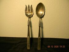 Antique Silver-Plate Salad Spoon And Fork With Ebony Wooden Handle. M & B Q.