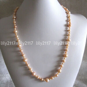 Genuine 6-10mm Natural South Sea Pink Freshwater Pearl Necklace Jewelry 18-100''