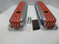 S B CHEVY TALL CENTER BOLT ORANGE POLISHED  FIN VAL COVERS