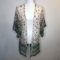 Angie Floral Kimono Sheer Boho Open Blouse Wide Sleeves Cream White Green S