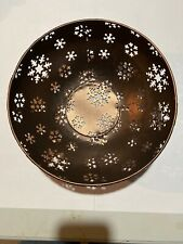 "Bronze Metal Round Snowflake 10"" Bowl 4"" High Decorative Decor"