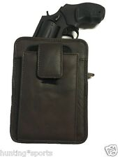 Leather Concealment Gun Holster fits Ruger LCR and Holds Cell Phone
