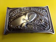 "1976 Bergamot Brass Works ""Save The Whale"" Belt Buckle Fishermen Harpooning"