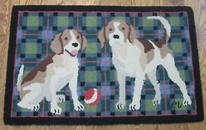 CLAIRE MURRAY RETRIEVER DOGS HOOKED RUG 100% wool 90s vtg lab puppies R616 22x34
