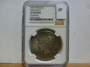 1921 Peace Silver Dollar High Relief NGC XF Details Cleaned #043