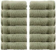 WhiteClassic Luxury Cotton Washcloths - 13x3 Hotel Face Towel | Green 12/Pack