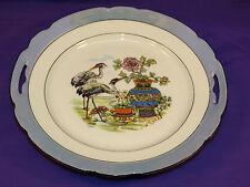 VINTAGE SCHWARZENHAMMER PLATE W/ ORIENTAL CRANES BLUE LUSTREWARE HANDLES BAVARIA