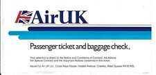 Airline Ticket - Air UK - Blue Stripes - 4 Flight Format - 1990 (T435)
