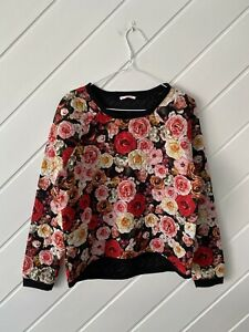 Target - Hot Options - Ladies Black/Floral Quilted Look Top - Size 10.