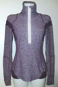 Lululemon heather-plum 1/2-zip high-neck long sleeve stretch top size 8