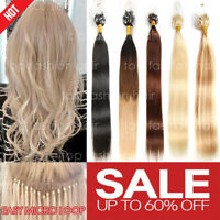 THICK 300S Russian 8A Remy Human NANO Loop Micro Ring Beads Hair Extensions P404