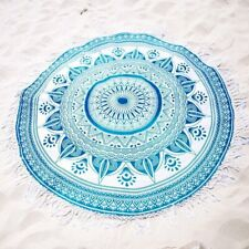 "Ombre Flower Mandala 72"" Inches Big Roundies With Fringe Textile Indian Ethnic"