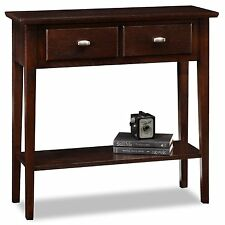 Leick Furniture 10075-CH Rectangle Hall Console Table With Two Drawer Oak Finish