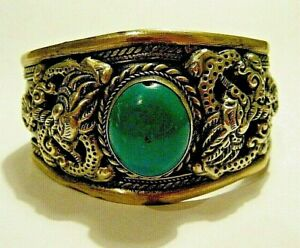 Large Vintage Tibet Thai Silver and Brass Dragon Cuff Bracelet Turquoise Cab