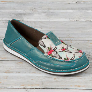 Ariat Turquoise Steers and Roses Print Cruisers