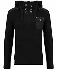Twisted Soul Black Tech Cable Knit Hooded Jumper XS TD191 QQ 10