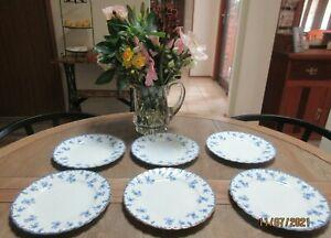 ANTIQUE BRIDGWOODS TRADE MARK CHINA STAR BLUE/WHITE PRETTY FLORAL SET 6 PLATES