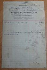 1925 LETTERHEAD MOORE FURNITURE COMPANY KENDALLVILLE, INDIANA