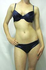 Jolie Intimates Royal Blue Velvet Bra & Bikini Set 32B - Medium