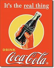 "Drink Coca Cola "" It'S The Real Thing "" Diner Beach 12.5"" X 16"" Metal Sign"