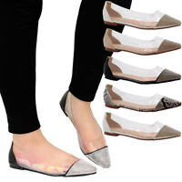 Ladies Women Flat Perspex Summer Diamante Sandals Ballerinas Loafers Pumps Shoes