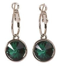 Swarovski Element Crystal Emerald Harley Earrings Rhodium Plated Authentic 7164y