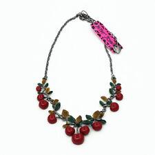 Betsey Johnson Women's Fashion Red Resin Cherry Pendant Chain Bib Necklace Gift
