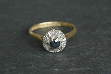 Vintage Art Deco 18ct Yellow Gold Sapphire Diamond Cluster Ring 18k 18 Ct Carat