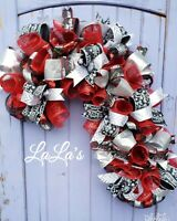 Candy Cane Christmas Wreath- Mesh CandyCane Wreath- Red, Black, & Silver