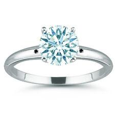 2.71 ct VVS1/ICE WHITE REAL MOISSANITE & NATURAL BLACK DIAMOND .925 SILVER RING