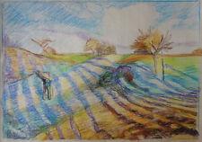 Fine Impressionist landscape pastel painting, Rare unique art, Signed Pissarro