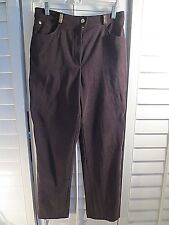 ST. JOHN SPORT BROWN SUEDE PANTS w/Logo Button Logo-plate 10