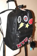 NWT Candie's Patches Backpack Bookbag Black Live Laugh Love NYC Fox Lips Pom Pom