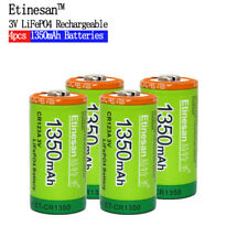 4pcs ETINESAN CR123A LiFePO4 1350mah rechargeable battery camera battery
