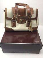 Coach Signature White Leather Satchel Handbag Purse Bag Beautiful Turnlock