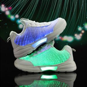 Herren Mädchen Jungen Mädchen LED Schuhe Flashing Fiber Optic leuchtende Sneaker
