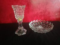 2 pc American Fostoria Clear Glass Footed Bowl & Stemmed Candle Holder VTG