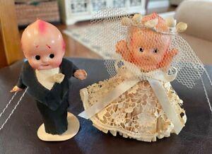 "1920's Vintage Celluloid Bride & Groom Wedding Cake Toppers 4"" Dolls Antique"