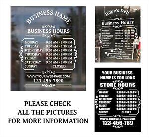 """Custom Business Store Hours Sign Vinyl Decal Sticker 12"""" wide door, window."""