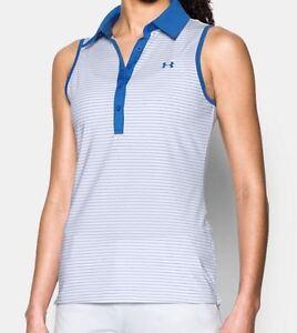 NWT Under Armour Womens Zinger Sleeveless Stripe White/Blue Golf Polo Shirt sz M
