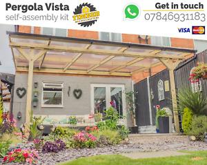 High Quality Timber Pergola Vista Lean-to Roof Gazebo Carport Self-assembly kit