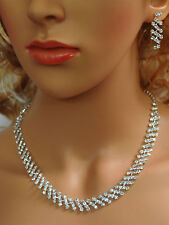 SC Bridal Crystal Necklace Earrings Set Prom Wedding Pageant Jewelry N1X7