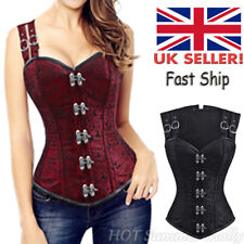 Lady Steampunk Lace up Overbust Corset Top Bustier Gothic Waist Training Cincher